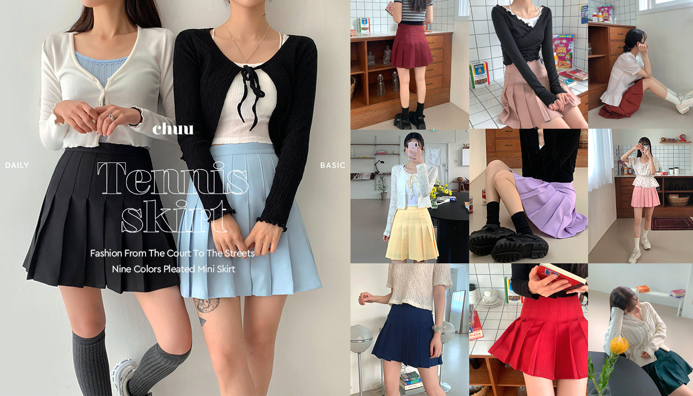 Nine Colors Pleated Mini Skirt